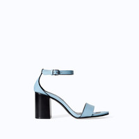LEATHER WIDE HEEL SANDAL