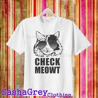 Check Meowt White _ T-Shirt Men's Size S - 3XL Design By : sashagreystore