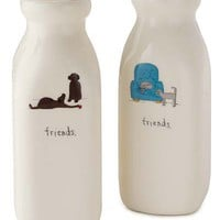 CERAMIC FRIENDS VASES | Beth Mueller Ceramic Cat And Dog Milk Bottle Vases - Handpainted, Charming, Cute Way To Display Flowers And Decorate Home | UncommonGoods