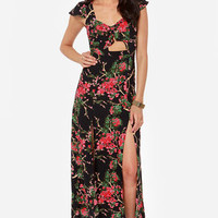 Cherry Blossoming Out Black Floral Print Maxi Dress