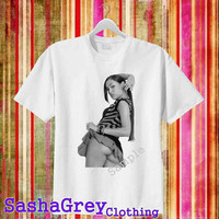 sasha grey sexy White _ T-Shirt Men's Size S - 3XL Design By : sashagreystore