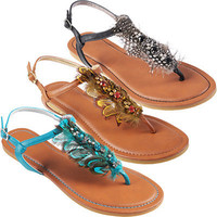 Hailey Jeans Co. Womens Feather Accent Thong Sandals | Meijer.com