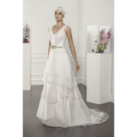 Chiffon Sleeveless V-Neckline A-line Floor Length Wedding Dress