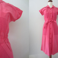 70s Hot Pink Shirtdress w/ Crochet Pockets and Yoke by Seppälä, S // Vintage Cotton Short Sleeve Day Dress w/ Sash Belt
