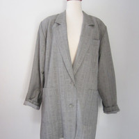 80s Marimekko Oversized Blazer w/ Shoulder Pads, M-L // Vintage Grey Thin Light Wool Jacket
