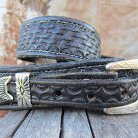 Vintage Western Folky Leather Belt w/ Faux Snake Inside, 80-90 cm / 31-36 in // Black Cowboy Belt w/ Weave Engravings