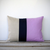 Color Block Pillow in Radiant Orchid, Navy and Natural Linen by JillianReneDecor | Spring Home Decor | Decorative Pillow