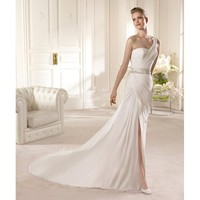 Charming Sweep Sheath One Shoulder Chiffon Embroidery Wedding Dress