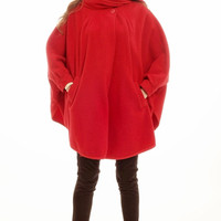 1980's vintage red cocoon oversize cape coat