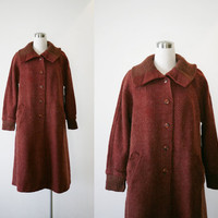 Vintage maroon brown wool coat L, winter swing coat