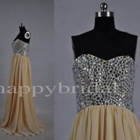 Long Dark Yellow Prom Dresses Beaded Party Dresses Homecoming Dresses Formal Party Evening Dresses New Custom Made