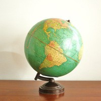 1930s coin globe with metal base by highstreetmarket on Etsy