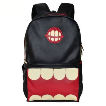 Funny Big Mouth PU Leather Backpack