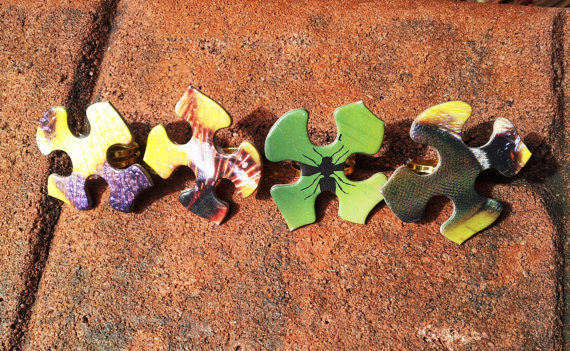 Puzzle Rings  Upcycled Puzzle Pieces Gold by UpcycleFever on Etsy