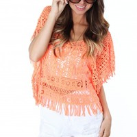 Neon Orange Open Crochet Top