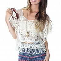 Sand Open Crochet Top