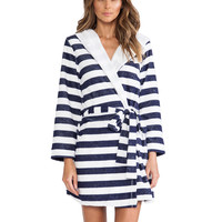 Splendid Classic Terry Robe in Navy Rugby Stripe