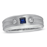Men's Princess-Cut Lab-Created Blue Sapphire and 1/10 CT. T.W. Diamond Ring in 10K White Gold - View All Rings - Zales