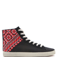 Kim and Zozi Woven Print Heel High Sneakers at PacSun.com