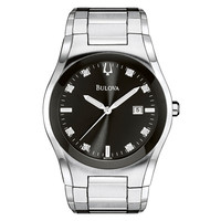 Men's Bulova Stainless Steel Watch with Black Dial and Diamond Markers (Model: 96D104) - Bulova - Zales