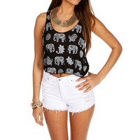Black Elephant Crop Tank