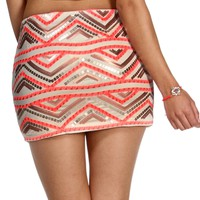 IvoryPinkGold Sequin Chevron Mini Skirt