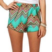 Mint Green Printed Shorts