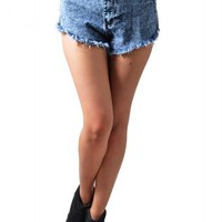 Medium Wash High-Waist Denim Cutoffs