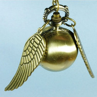 Golden Snitch WATCH necklace Brass Double sided by qizhouhuang