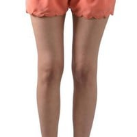 Breezy Coral Scalloped Shorts