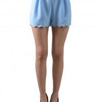 Breezy Powder Blue Scalloped Shorts