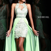 Sherri Hill 9713 - Green Lace Open Back Hi-Low Prom Dresses Online