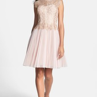 Ted Baker London Metallic Lace Overlay Fit & Flare Dress | Nordstrom