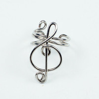 Ear Cuff Small Treble Clef Silver Colored by ShutUpAndCuffMe