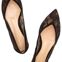 Gianvito Rossi - Suede-trimmed lace flats