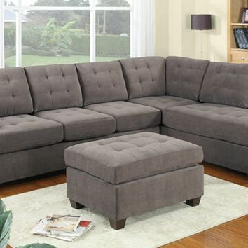 2 pc Charcoal tufted back waffle suede fabric upholstered reversible sectional sofa with chaise lounger
