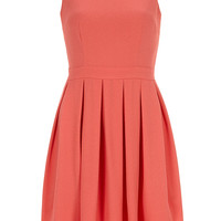 Coral Organza Crepe Dress