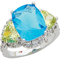 Sterling Silver Blue and Light Green Cubic Zirconia Ring | Meijer.com