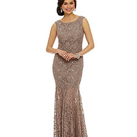 Jump Sleeveless Open-Back Lace Gown | Dillards.com
