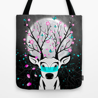 Roots To Grow and Wings To Fly (Sakura Deer) Tote Bag by soaring anchor designs ⚓