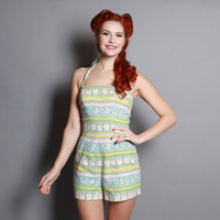 50s Rose Marie Reid PLAYSUIT / Pastel Print Cotton Swimsuit, xs - s