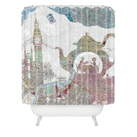 Belle13 4 O Clock Tea London Map Shower Curtain