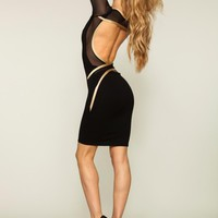 Q9024 Quontum Black/Gold Shine Backless Strap Dress