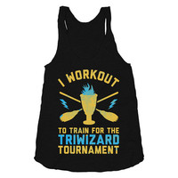 I Workout To Train for the Tri Wizard Tournament - Womens, Nerdy, Workout Tank Top, Harry Potter Shirt, Fitness Clothing, American Apparel,