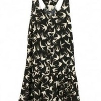 Black and White Bird Printed Wavy Edges Dress