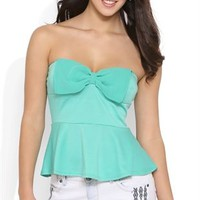 Ponte peplum tube top with chiffon dyed to match bow front