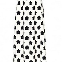 Black and White Rose Printed Maxi Skirt