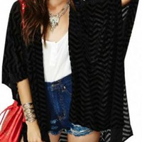 Black Open Front Chiffon Blouse