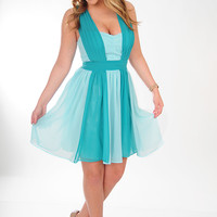 MINUET: Gracefully Yours Dress: Jade/Baby Blue