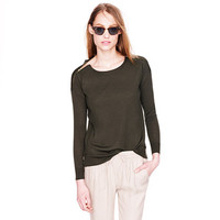 MERINO ZIP-SHOULDER SWEATER